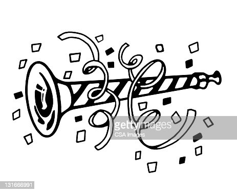 Party Horn And Streamers Vector Art
