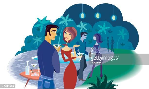 ilustraciones, imágenes clip art, dibujos animados e iconos de stock de party - pool party