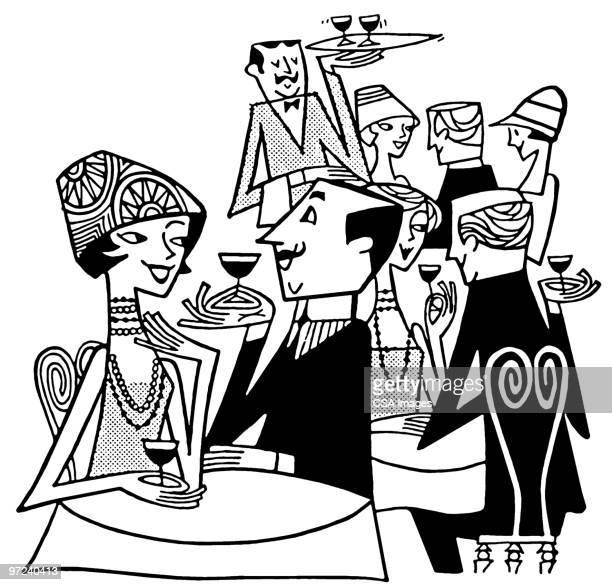 ilustraciones, imágenes clip art, dibujos animados e iconos de stock de party - grupo mediano de personas