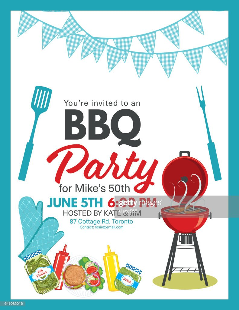 bbq party invitation template stock illustration getty images. Black Bedroom Furniture Sets. Home Design Ideas