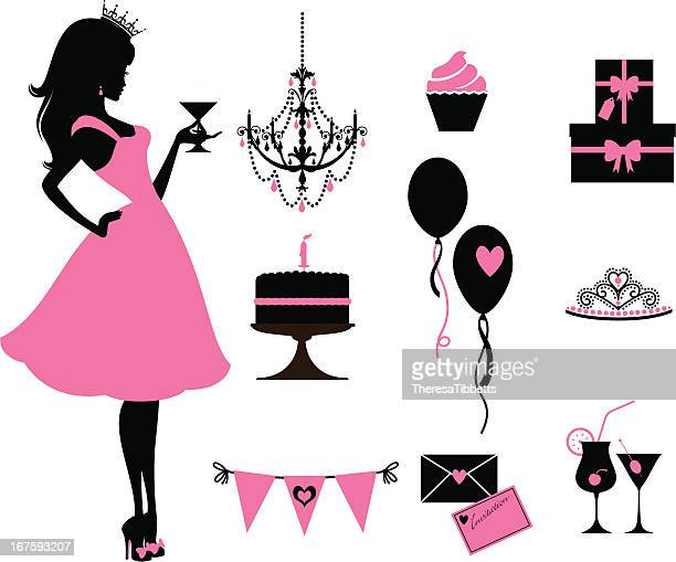 party-princess - prinzessin stock-grafiken, -clipart, -cartoons und -symbole