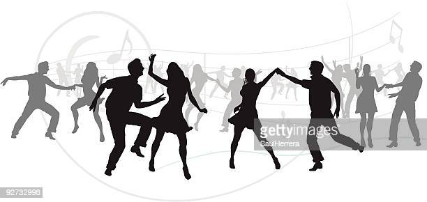 party silhouettes - dancing stock illustrations, clip art, cartoons, & icons