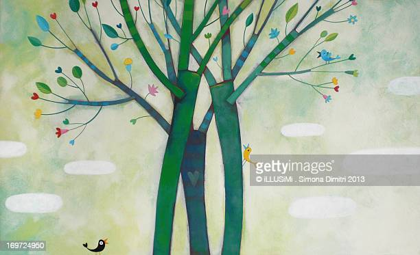 party through the branches - simona dimitri stock-grafiken, -clipart, -cartoons und -symbole