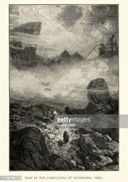 pass in the cordillera of occobamba, peru, 19th century - wilderness stock illustrations