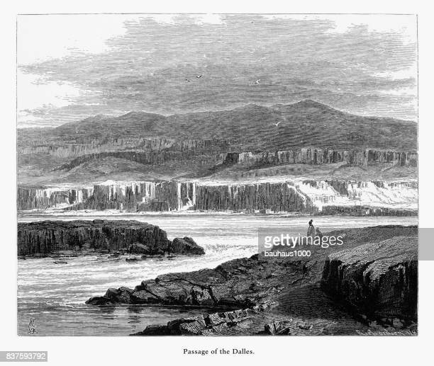 passage of the dalles, columbia river, oregon, united states, american victorian engraving, 1872 - rapid stock illustrations