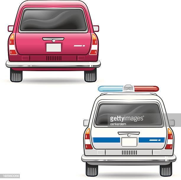 passenger car and the police - sedan stock illustrations, clip art, cartoons, & icons