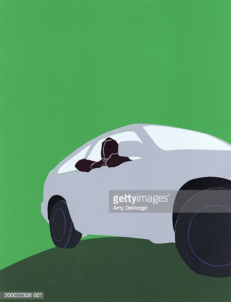 passenger leaning out window of sports car - domestic car stock illustrations, clip art, cartoons, & icons