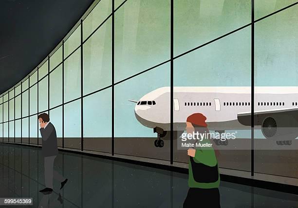 passengers at airport terminal with airplane seen through window - 膝から上の構図点のイラスト素材/クリップアート素材/マンガ素材/アイコン素材