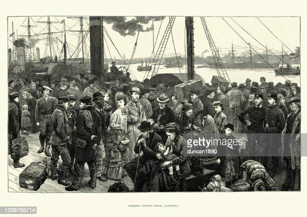 passengers from around the world arriving in liverpool. 19th century - merseyside stock illustrations