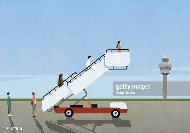 passengers in face masks waiting on passenger boarding bridge on airport tarmac - transportation stock illustrations