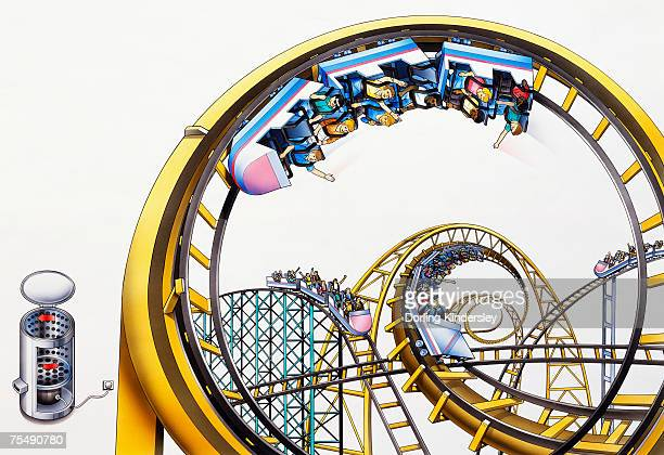 Passengers upside down in coaster cars on roller coaster ride in amusement park