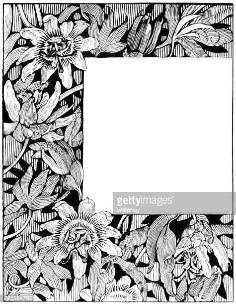 passion flower frame (victorian engraving) - art nouveau stock illustrations, clip art, cartoons, & icons