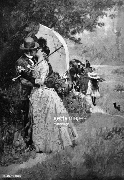 passionate kiss in the park - 1895 - love at first sight stock illustrations