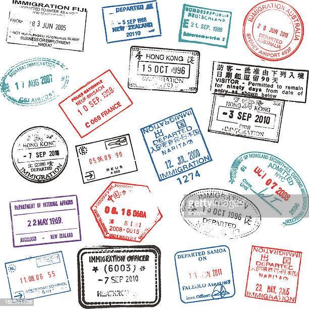 ilustraciones, imágenes clip art, dibujos animados e iconos de stock de pasaporte sellos - fuerza