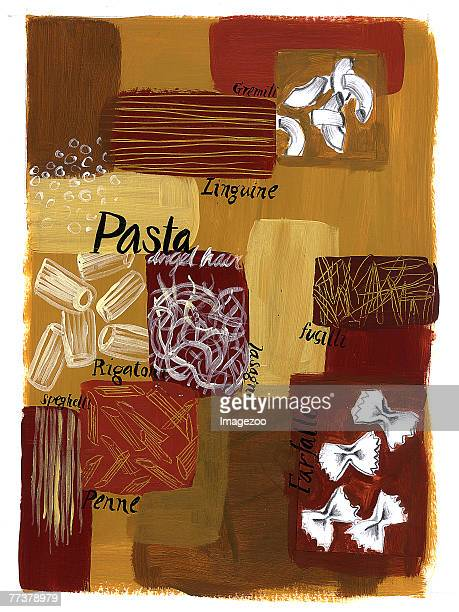 pasta montage - macaroni stock illustrations, clip art, cartoons, & icons