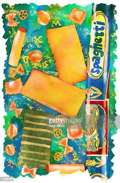 pasta varieties - macaroni stock illustrations, clip art, cartoons, & icons