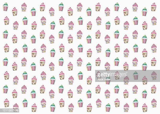 pastel colored cupcakes on white background - cake stock illustrations