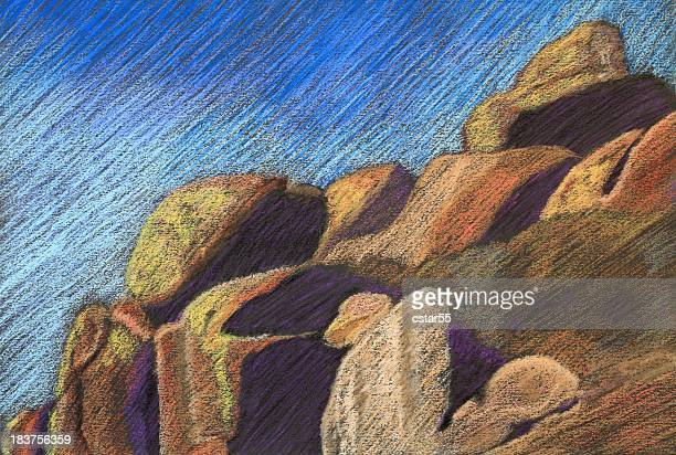 Pastel of Rock Formation
