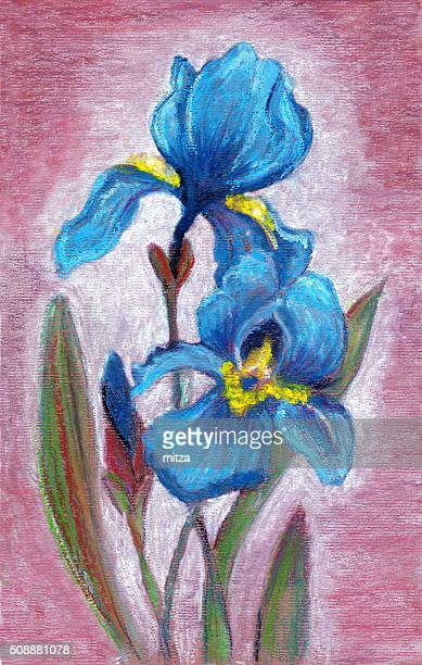 Pastel painting of blue iris flowers on textured color background.