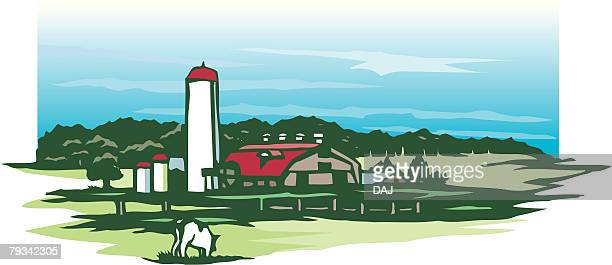 pasture, woodcut, hokkaido, japan - hokkaido stock illustrations, clip art, cartoons, & icons