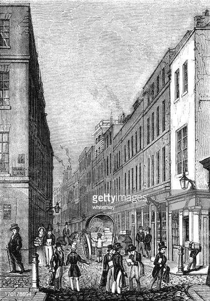 paternoster row, london (victorian woodcut) - corner of building stock illustrations, clip art, cartoons, & icons