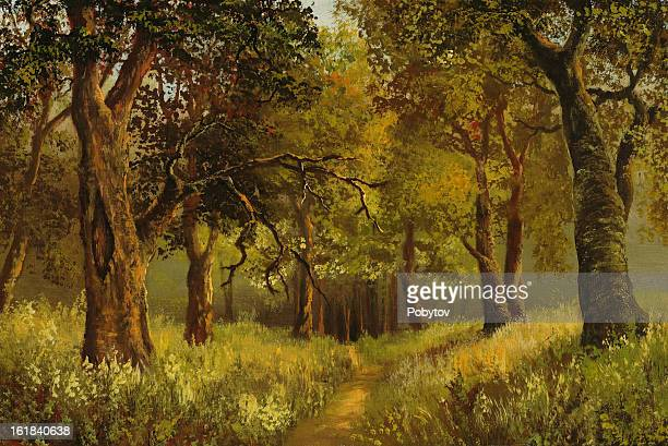 path in deep wood - grove stock illustrations, clip art, cartoons, & icons