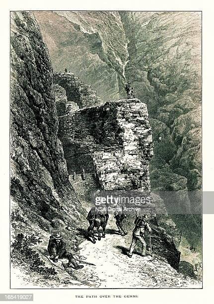 path over gemmi pass, switzerland i antique european illustrations - mont blanc stock illustrations, clip art, cartoons, & icons
