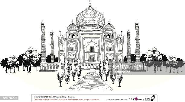 pathway by taj mahal - onion dome stock illustrations, clip art, cartoons, & icons