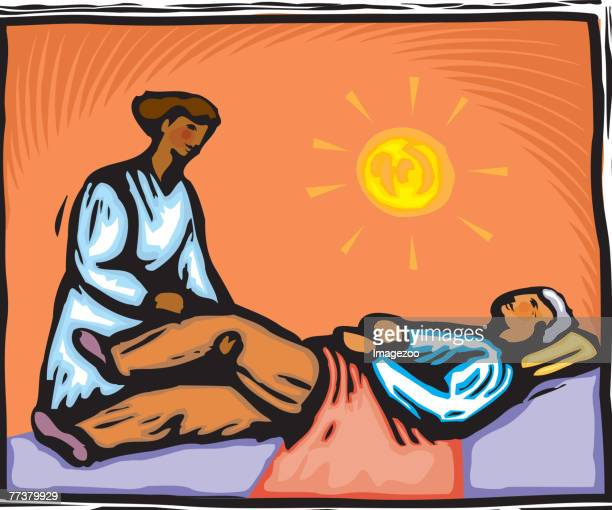 patient getting rehabilitated - paralysis stock illustrations, clip art, cartoons, & icons