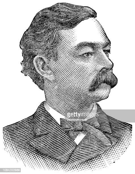 ilustrações de stock, clip art, desenhos animados e ícones de patrick andrew collins the 37th mayor of boston, massachusetts - bigode