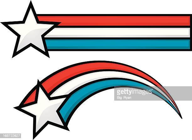 ilustraciones, imágenes clip art, dibujos animados e iconos de stock de patriótica estadounidense star - estrella fugaz