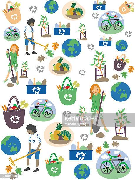 a pattern for earth day with children, recycling, earth and bicycles - raking leaves stock illustrations, clip art, cartoons, & icons
