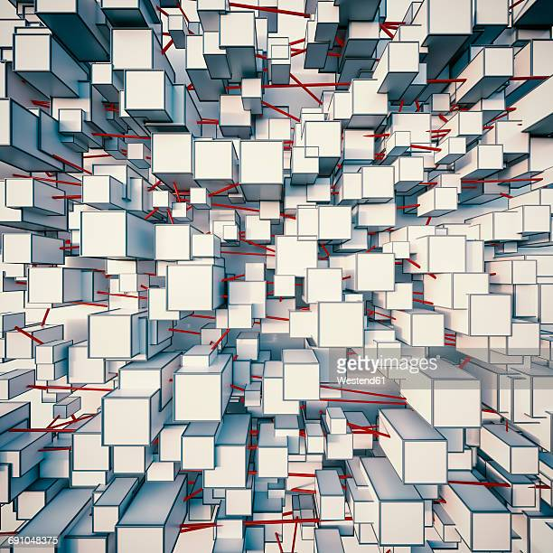 pattern of connected angular shapes, 3d rendering - facade stock illustrations