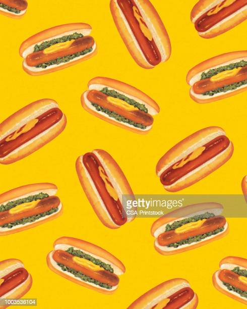pattern of hot dogs - mustard stock illustrations