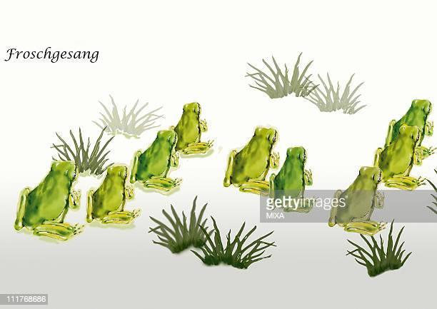 ilustraciones, imágenes clip art, dibujos animados e iconos de stock de pattern of japanese painting, japanese tree frog - grupo grande de animales
