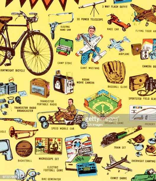 pattern of little boy things - toy stock illustrations