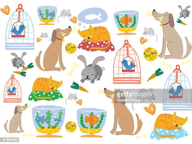 a pattern of pet dogs, cats, rabbits, mice, birds and fish - dog toys stock illustrations