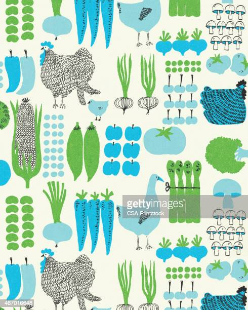 pattern of vegetables and chickens - green pea stock illustrations