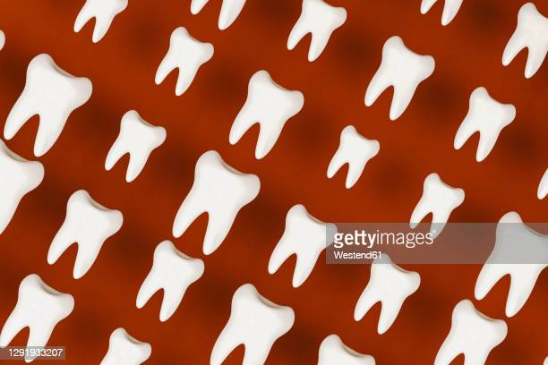 pattern of white molars against red background - large group of objects stock illustrations
