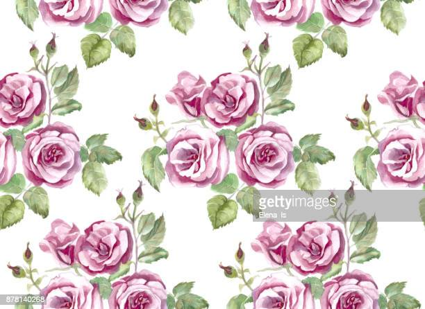 pattern roses seamless, ornament for cloth, wallpaper, background. base watercolor. - rose petals stock illustrations, clip art, cartoons, & icons
