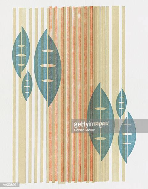 pattern with leaf shapes on stripes - medium group of objects stock illustrations, clip art, cartoons, & icons