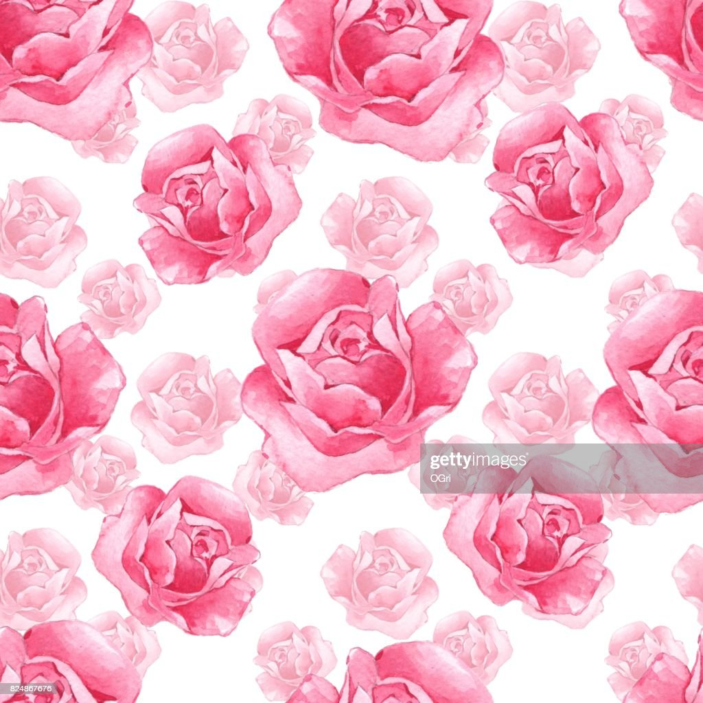 Pattern With Pink Roses 3 Stock Illustration Getty Images