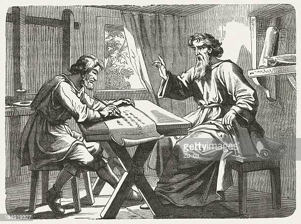 ilustrações, clipart, desenhos animados e ícones de paul e tertius (romanos 16, 22 - bíblia