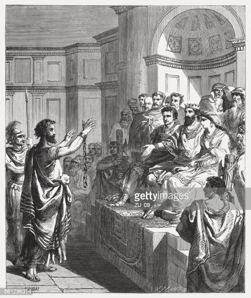 paul before king agrippa and festus (acts 26), published 1886 - paul the apostle stock illustrations