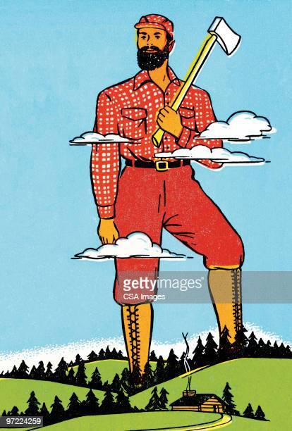 paul bunyan - giant stock illustrations, clip art, cartoons, & icons