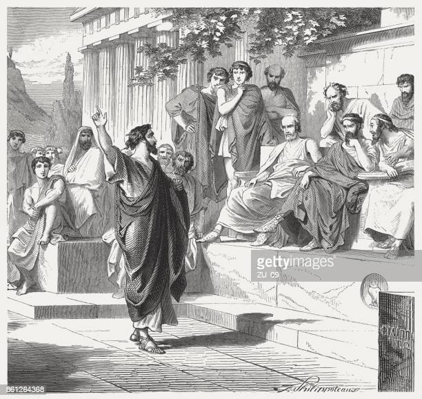 Paul preaches in Athens (Acts 17), wood engraving, published 1886