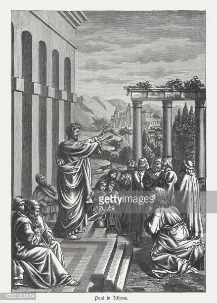 Paul preaches in Athens (Acts 17), wood engraving, published 1888