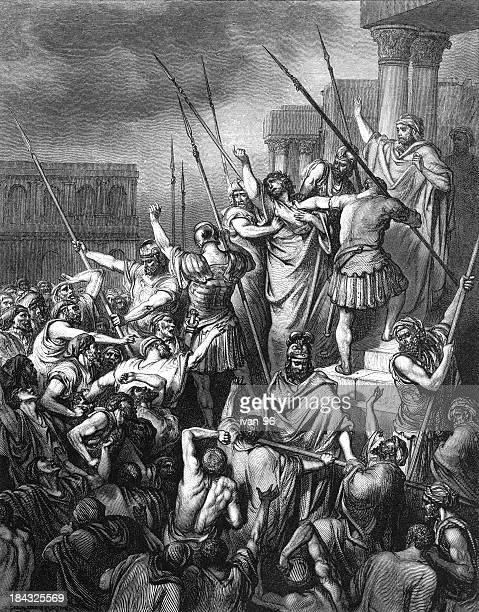 paul rescued from the multitude - paul the apostle stock illustrations
