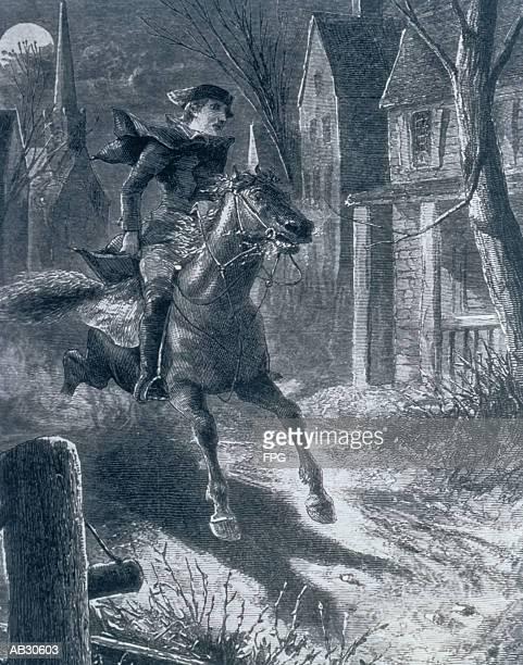 paul revere's ride to lexington, 1775 - army stock illustrations