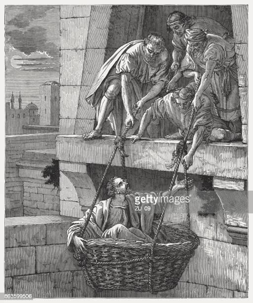 paul's escape from damascus (2 corinthians 11, 33), publishe 1886 - damascus stock illustrations